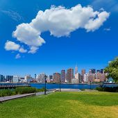 Manhattan New York sunny skyline East River NYC garden park turf USA