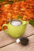 Tea pot with cup on autumn table