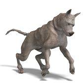 curioso cão alienígena com pele de rinoceronte e chifre