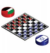 image of draught-board  - Israel Palestine conflict played out on a checkers board - JPG