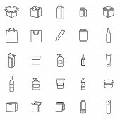 Packaging Line Icons On White Background