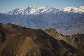 Close up Snow mountain range LADAKH, INDIA - September 2014