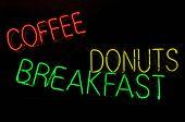 Coffee Donuts Breakfast Neon Light Sign