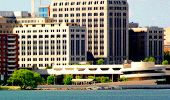Downtown Madison with Monona Terrace in artistic style.