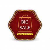 Big sale label with shopping bag