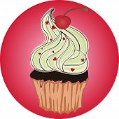tasty cupcake with cherry and hearts comics style