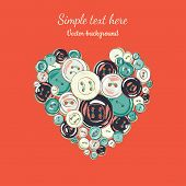 valentine's illustration heart of the buttons