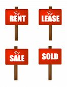 Sale , Lease, Rent And Sold Sign Boards