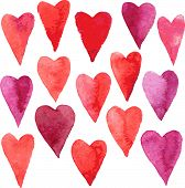 image of enamored  - set of red hearts painted by watercolor - JPG