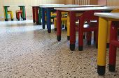 Chairs And Tables Of Kindergarten Without Children