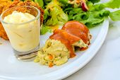 stock photo of crisps  - Close up of crisp chicken and mashed potatoes - JPG
