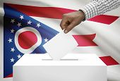 Voting Concept - Ballot Box With Us State Flag On Background - Ohio