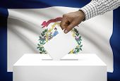 Voting Concept - Ballot Box With Us State Flag On Background - West Virginia