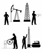 Silhouette Oilman Background In  Infrastructure