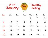 2015 Calendar. January. Funny Portrait Made of Vegetables And Fruits.