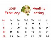 2015 Calendar. February. Funny Portrait Made of Vegetables And Fruits.