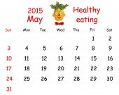 2015 Calendar. May. Funny Portrait Made of Vegetables And Fruits.