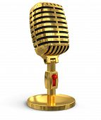 Gold Microphone (clipping path included)