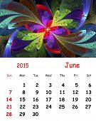 2015 Calendar. June.fractal Pattern In Stained Glass Style.