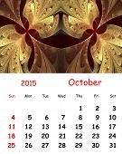 2015 Calendar. October.fractal Pattern In Stained Glass Style.