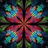Symmetrical Pattern In Stained-glass Window Style. Red And Blue Palette. Computer Generated Graphics