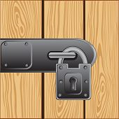 stock photo of outboard  - Vector illustration of the outboard lock on door from tree - JPG