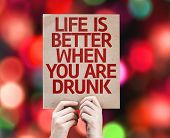 Life is Better When You Are Drunk card with colorful background with defocused lights