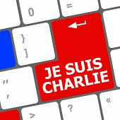pic of extremist  - Je Suis Charlie text on keyboard keys movement against terrorism - JPG