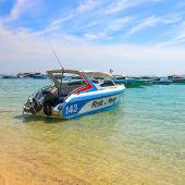 Beautiful Beach With Motor Boat At Larn Island