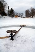 picture of sleigh ride  - Sleigh ride in a circle around the axis of the wheel of a cart on a frozen lake - JPG