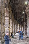 Rome Colosseum Interior Corridor With Tourists