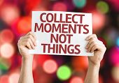 Collect Moments Not Things card with colorful background with defocused lights