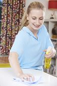 Female Cleaner Working In House