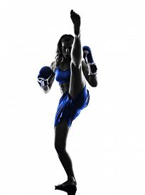 picture of boxers  - one woman boxer boxing kickboxing in silhouette isolated on white background - JPG