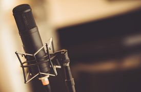 stock photo of tubes  - Professional Tube Microphone in the Recording Studio - JPG