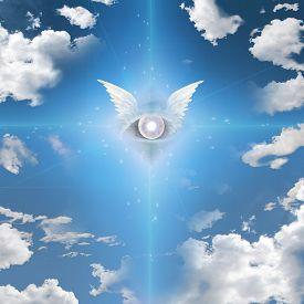 stock photo of freemasons  - Winged Eye - JPG