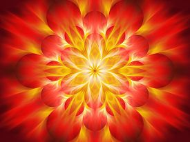 image of sanskrit  - Fiery chakra flame computer generated abstract background - JPG