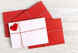 pic of valentine card  - Envelope Mail with Red Heart and Ribbon over White Wooden Background - JPG