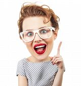 picture of caricatures  - Funny woman have idea isolated on white background - JPG