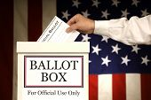 stock photo of ballot-paper  - Hand putting a vote into the Ballot Box - JPG