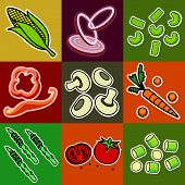 pic of green bean  - Nine images of different foods  - JPG