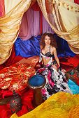 picture of harem  - Sexy oriental beauty and tabla - JPG