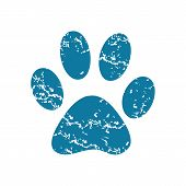 picture of webbed feet white  - Grunge blue icon with image of paw - JPG