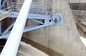 pic of dam  - Closeup of the floodgate bearing on a dam from the North of Sweden - JPG