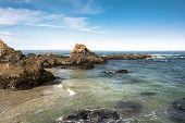picture of mendocino  - View of the rocks and the ocean along the coast of Fort Bragg - JPG