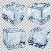 stock photo of ice cube  - Set of four transparent ice cubes in light blue colors - JPG