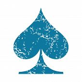 picture of spade  - Grunge blue icon with image of spades card symbol - JPG