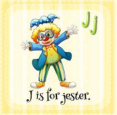image of jestering  - Flashcard letter J is for jester with yellow background - JPG