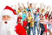 stock photo of christmas party  - Happy People and Santa - JPG