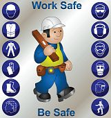 stock photo of ppe  - Builder wearing personal protection equipment and safety icons - JPG